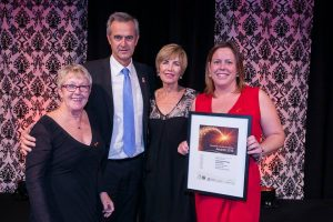 From Left: Lynne Evans (Acting CEO), Tony Simpson MLA, Vicki Moir (Vice Chair) and Angie Perkins (Service Delivery Manager)